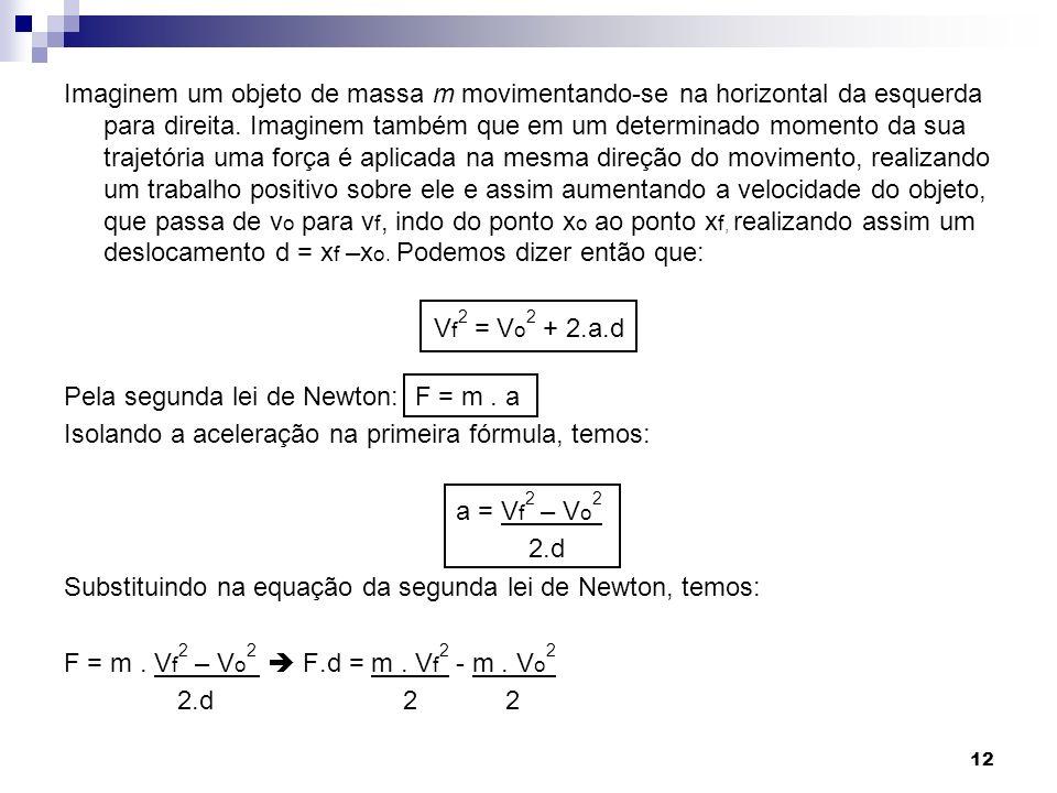 Imaginem um objeto de massa m movimentando-se na horizontal da esquerda para direita. Imaginem também que em um determinado momento da sua trajetória uma força é aplicada na mesma direção do movimento, realizando um trabalho positivo sobre ele e assim aumentando a velocidade do objeto, que passa de vo para vf, indo do ponto xo ao ponto xf, realizando assim um deslocamento d = xf –xo. Podemos dizer então que:
