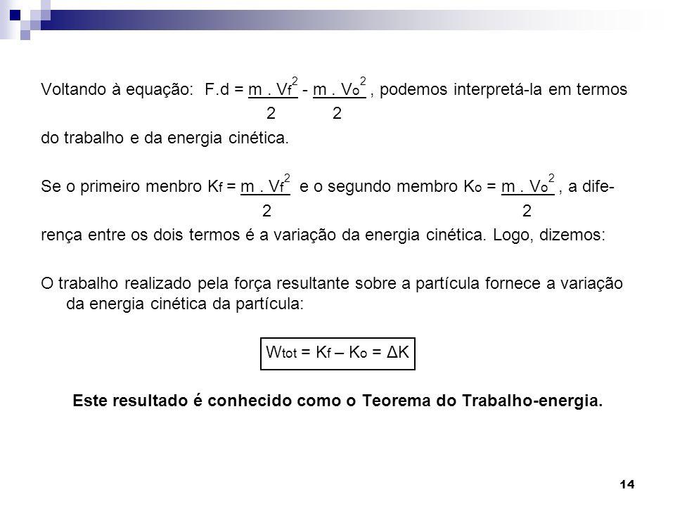 Este resultado é conhecido como o Teorema do Trabalho-energia.