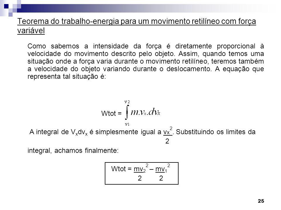 Teorema do trabalho-energia para um movimento retilíneo com força variável