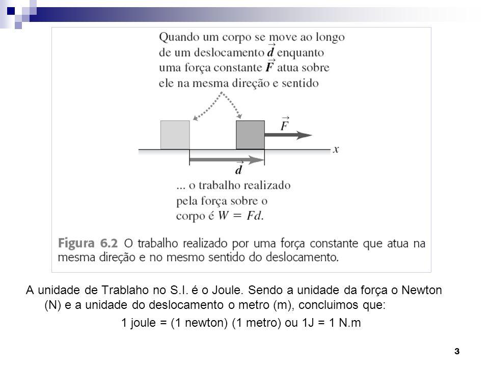 1 joule = (1 newton) (1 metro) ou 1J = 1 N.m