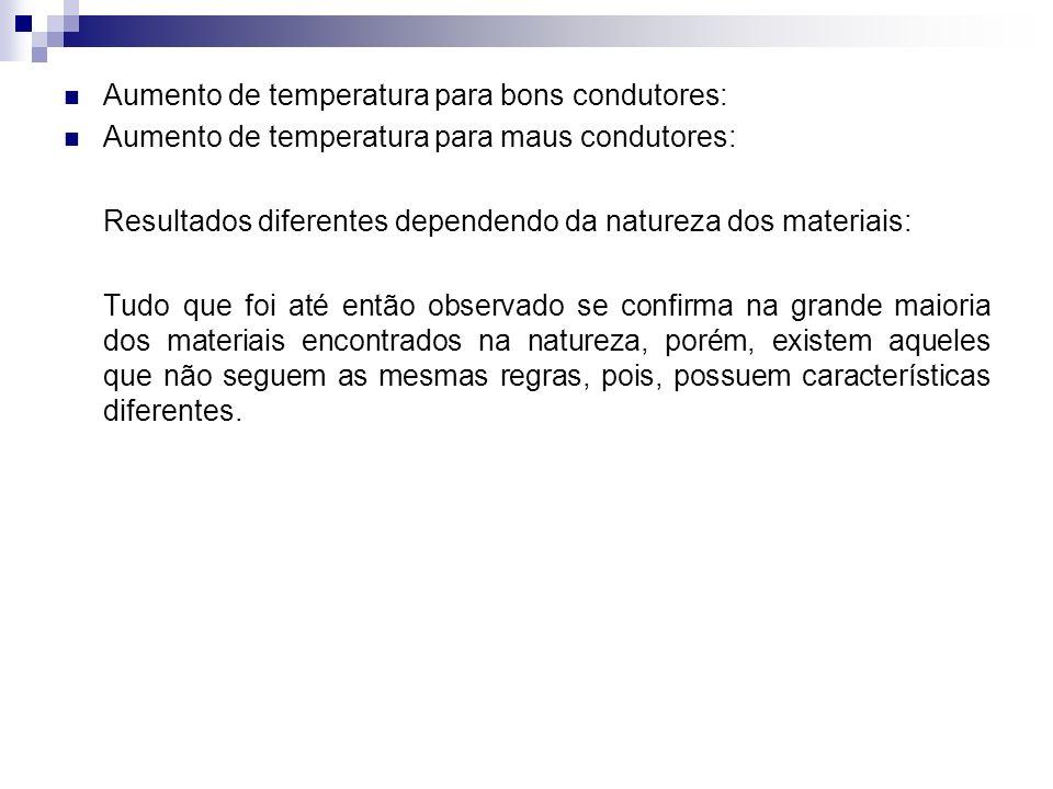 Aumento de temperatura para bons condutores: