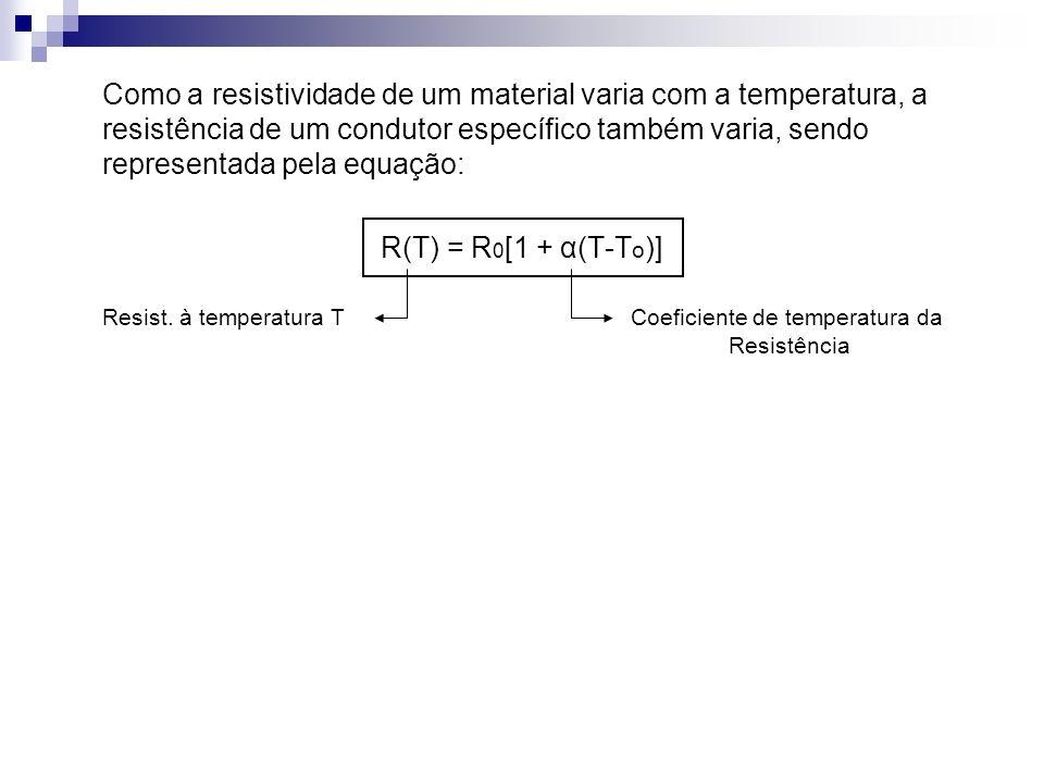 Como a resistividade de um material varia com a temperatura, a resistência de um condutor específico também varia, sendo representada pela equação: