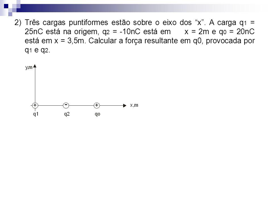 2) Três cargas puntiformes estão sobre o eixo dos x