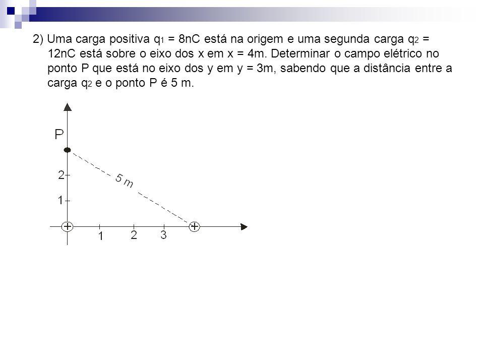 2) Uma carga positiva q1 = 8nC está na origem e uma segunda carga q2 = 12nC está sobre o eixo dos x em x = 4m.