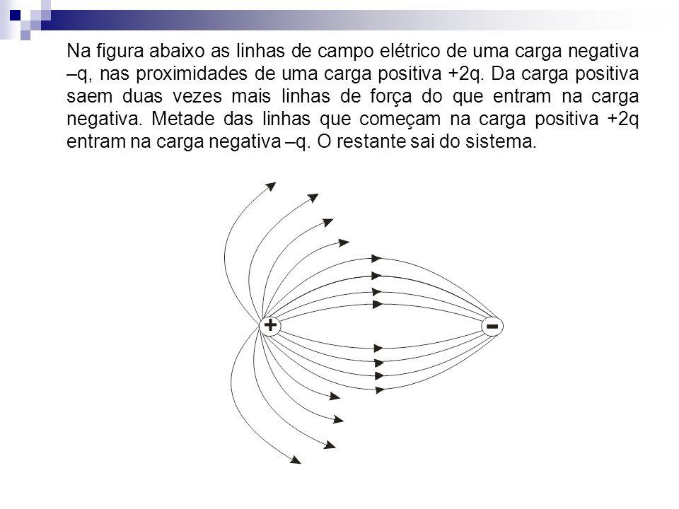 Na figura abaixo as linhas de campo elétrico de uma carga negativa –q, nas proximidades de uma carga positiva +2q.