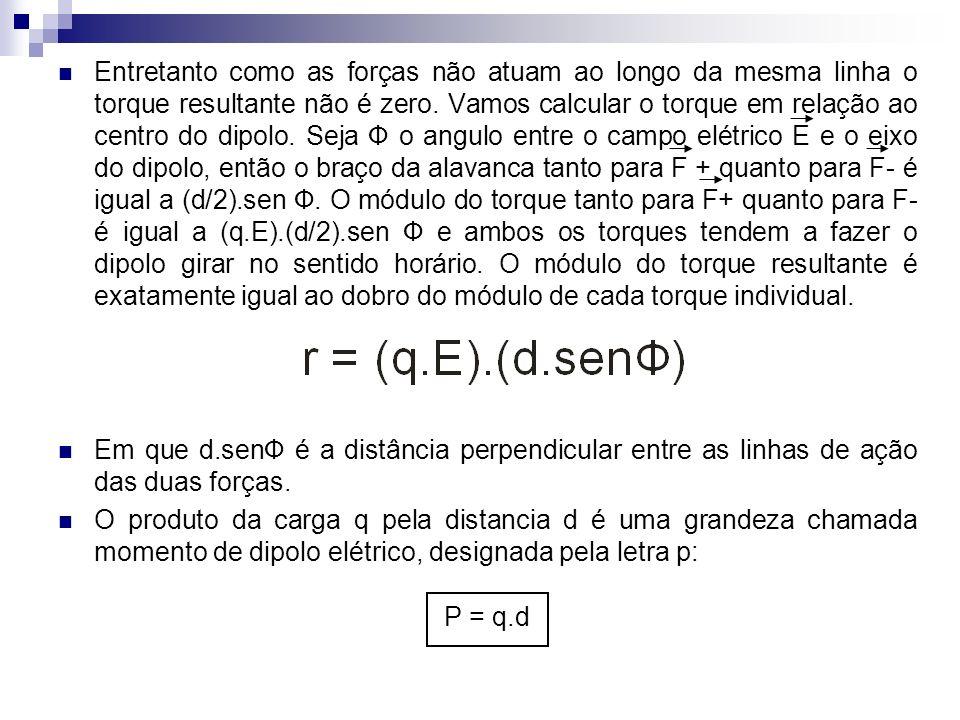 Entretanto como as forças não atuam ao longo da mesma linha o torque resultante não é zero. Vamos calcular o torque em relação ao centro do dipolo. Seja Ф o angulo entre o campo elétrico E e o eixo do dipolo, então o braço da alavanca tanto para F + quanto para F- é igual a (d/2).sen Ф. O módulo do torque tanto para F+ quanto para F- é igual a (q.E).(d/2).sen Ф e ambos os torques tendem a fazer o dipolo girar no sentido horário. O módulo do torque resultante é exatamente igual ao dobro do módulo de cada torque individual.