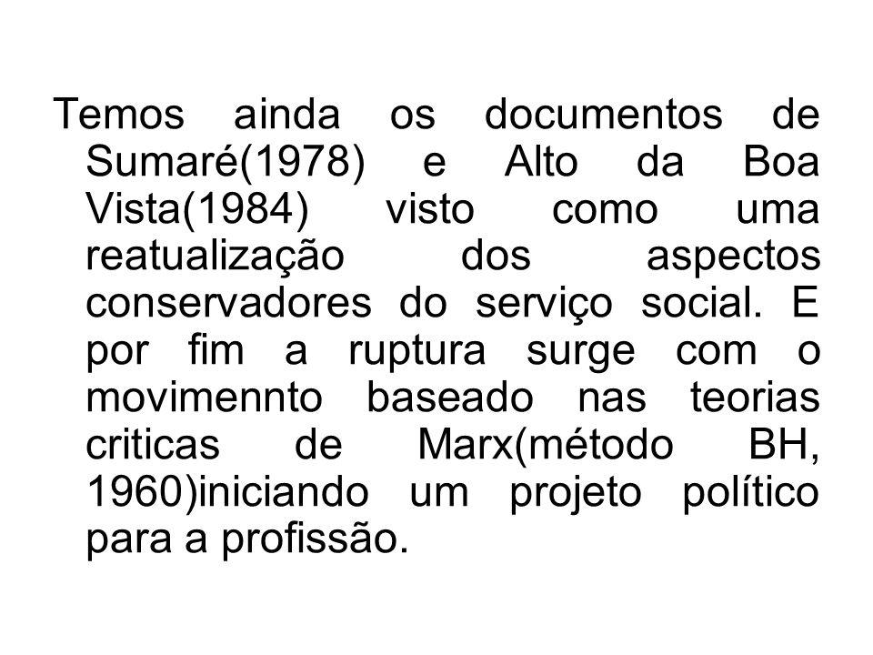 Temos ainda os documentos de Sumaré(1978) e Alto da Boa Vista(1984) visto como uma reatualização dos aspectos conservadores do serviço social.