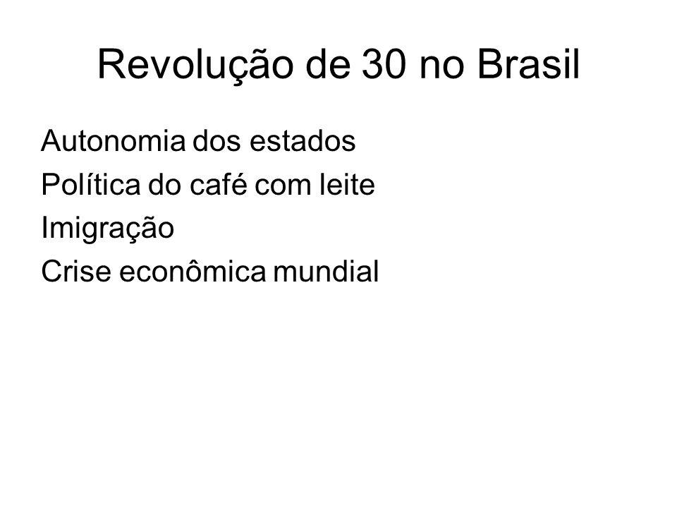 Revolução de 30 no Brasil Autonomia dos estados