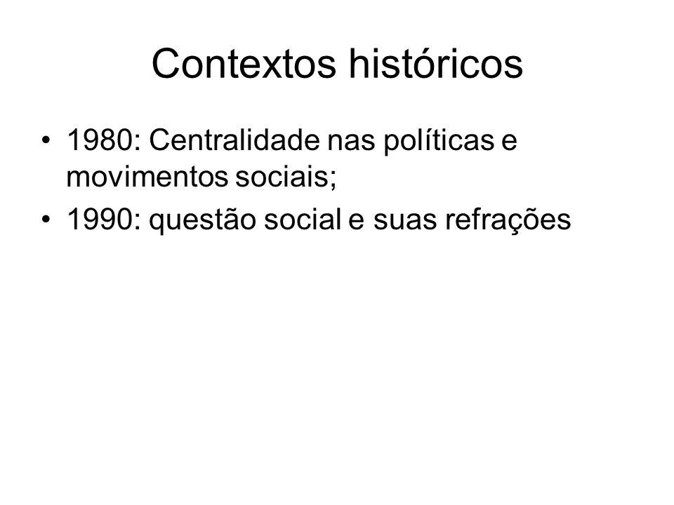 Contextos históricos1980: Centralidade nas políticas e movimentos sociais; 1990: questão social e suas refrações.