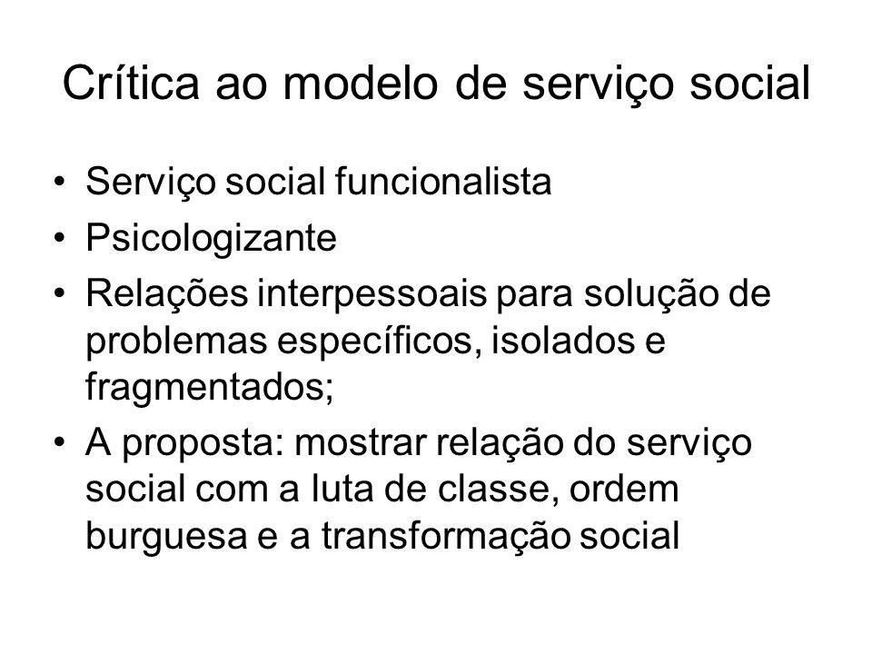 Crítica ao modelo de serviço social