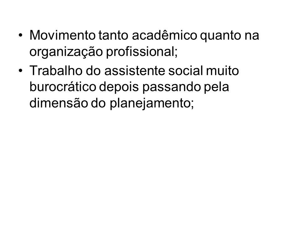 Movimento tanto acadêmico quanto na organização profissional;