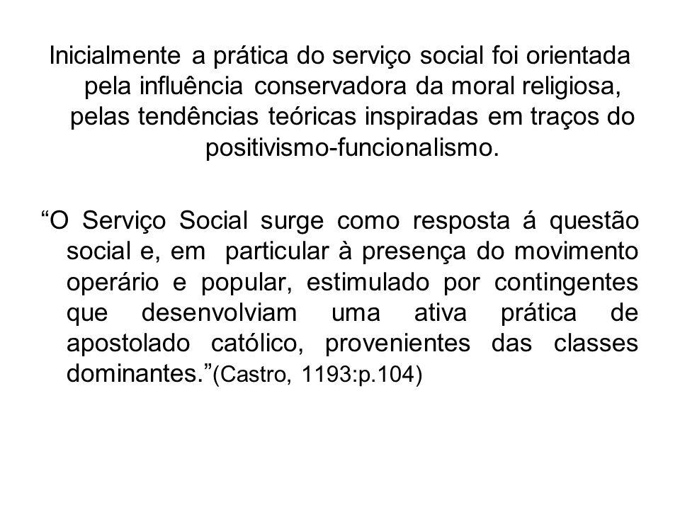 Inicialmente a prática do serviço social foi orientada pela influência conservadora da moral religiosa, pelas tendências teóricas inspiradas em traços do positivismo-funcionalismo.