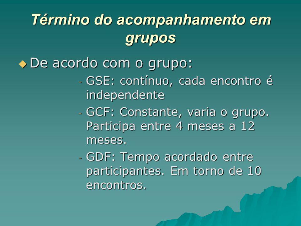 Término do acompanhamento em grupos