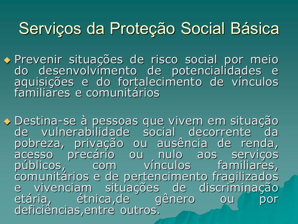 Serviços da Proteção Social Básica