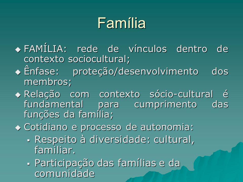 Família Respeito à diversidade: cultural, familiar.
