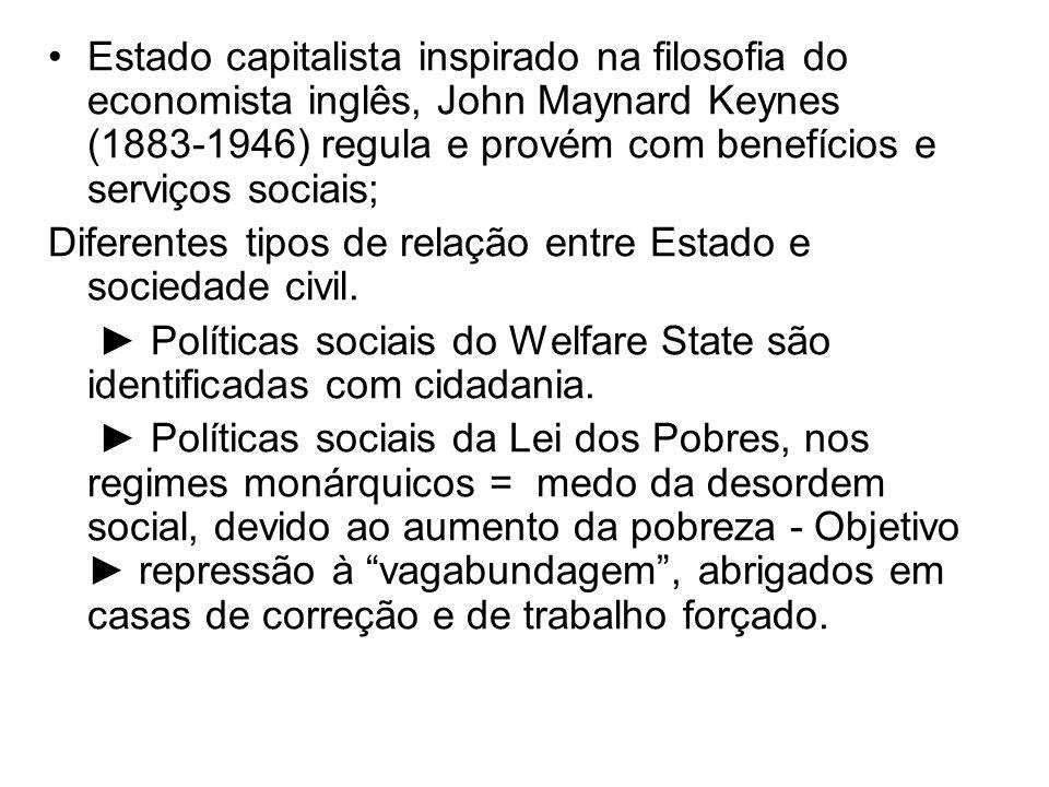 Estado capitalista inspirado na filosofia do economista inglês, John Maynard Keynes (1883-1946) regula e provém com benefícios e serviços sociais;