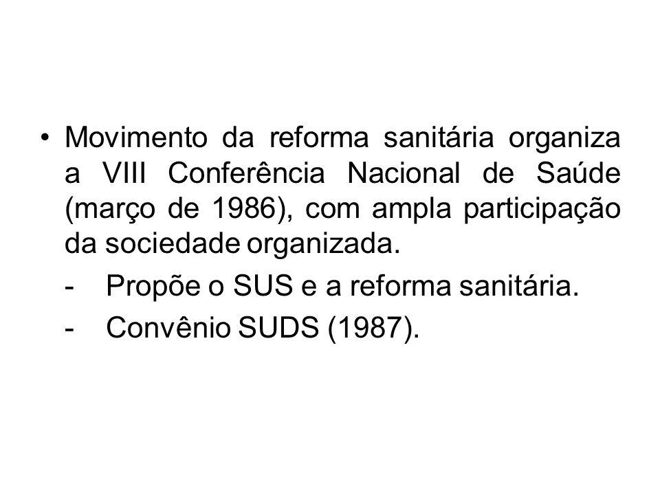 Movimento da reforma sanitária organiza a VIII Conferência Nacional de Saúde (março de 1986), com ampla participação da sociedade organizada.