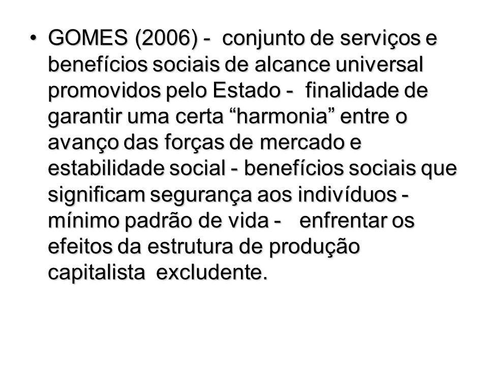 GOMES (2006) - conjunto de serviços e benefícios sociais de alcance universal promovidos pelo Estado - finalidade de garantir uma certa harmonia entre o avanço das forças de mercado e estabilidade social - benefícios sociais que significam segurança aos indivíduos - mínimo padrão de vida - enfrentar os efeitos da estrutura de produção capitalista excludente.