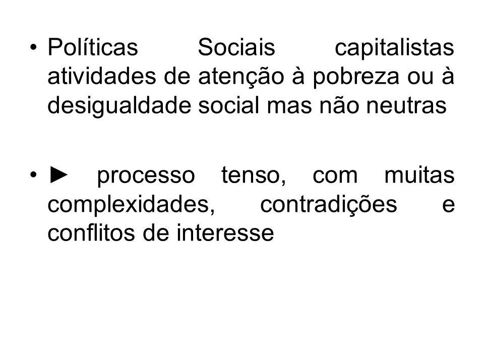 Políticas Sociais capitalistas atividades de atenção à pobreza ou à desigualdade social mas não neutras