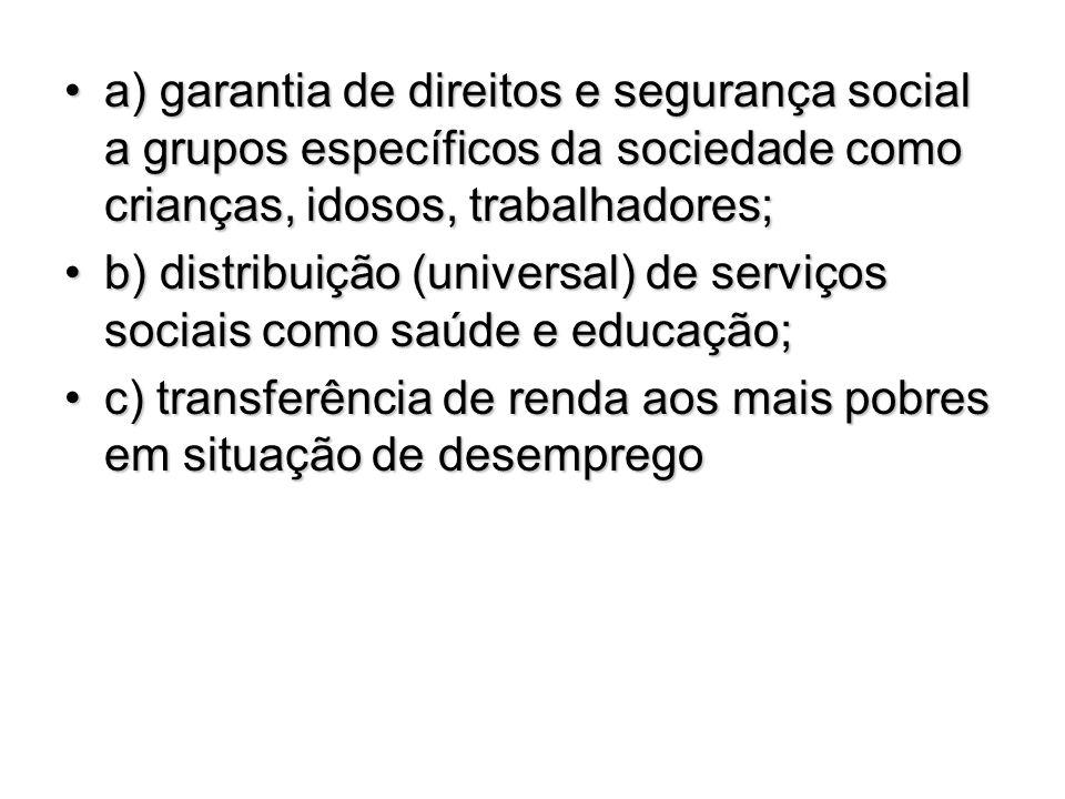 a) garantia de direitos e segurança social a grupos específicos da sociedade como crianças, idosos, trabalhadores;