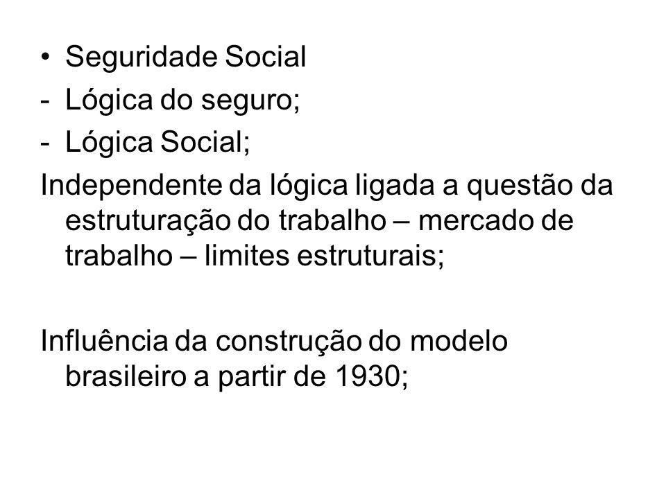 Seguridade Social Lógica do seguro; Lógica Social;