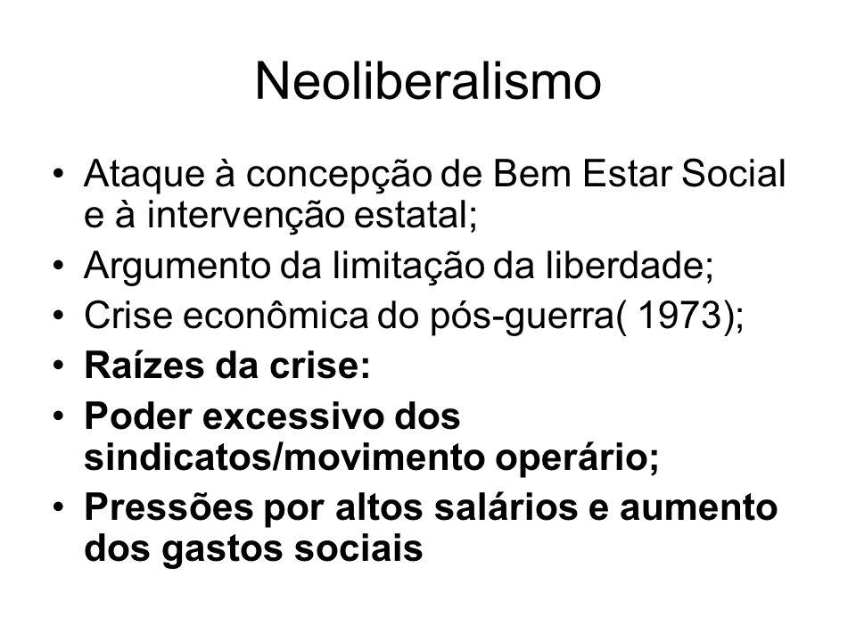 Neoliberalismo Ataque à concepção de Bem Estar Social e à intervenção estatal; Argumento da limitação da liberdade;