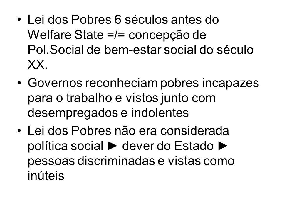Lei dos Pobres 6 séculos antes do Welfare State =/= concepção de Pol