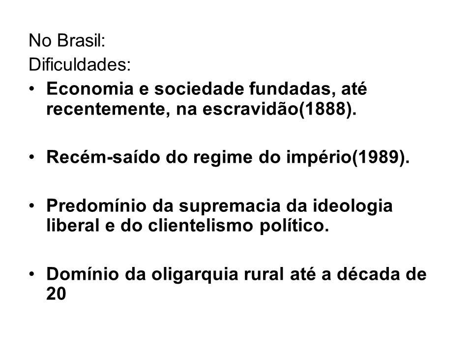 No Brasil: Dificuldades: Economia e sociedade fundadas, até recentemente, na escravidão(1888). Recém-saído do regime do império(1989).