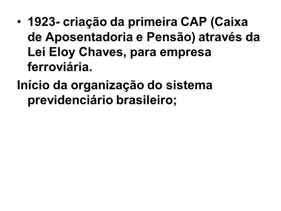 1923- criação da primeira CAP (Caixa de Aposentadoria e Pensão) através da Lei Eloy Chaves, para empresa ferroviária.