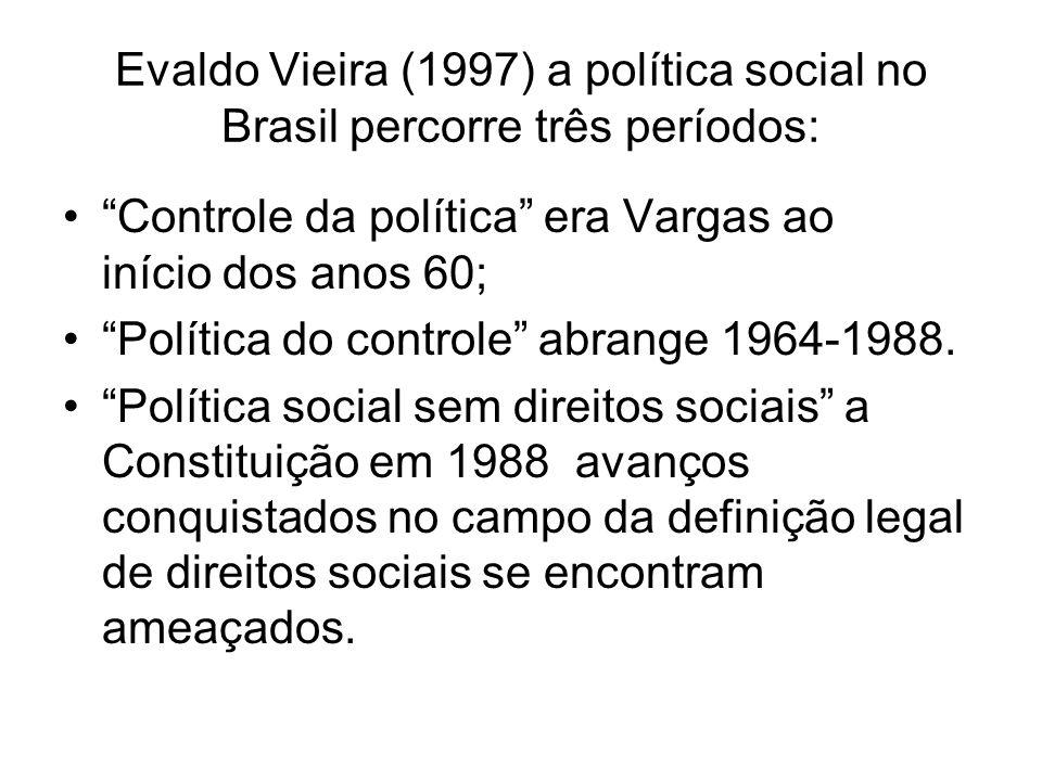 Evaldo Vieira (1997) a política social no Brasil percorre três períodos: