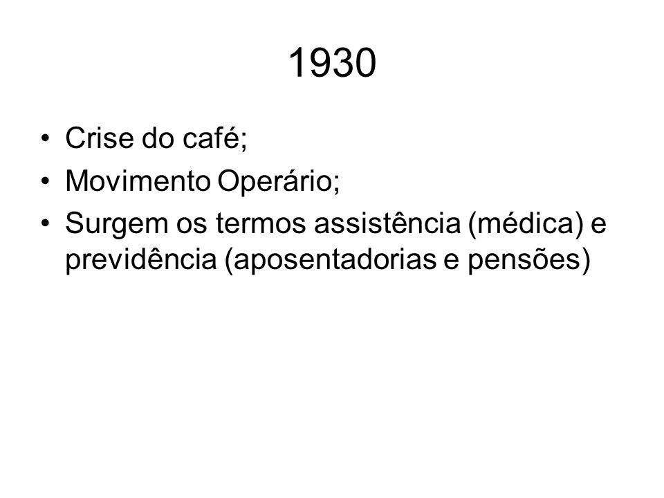 1930 Crise do café; Movimento Operário;