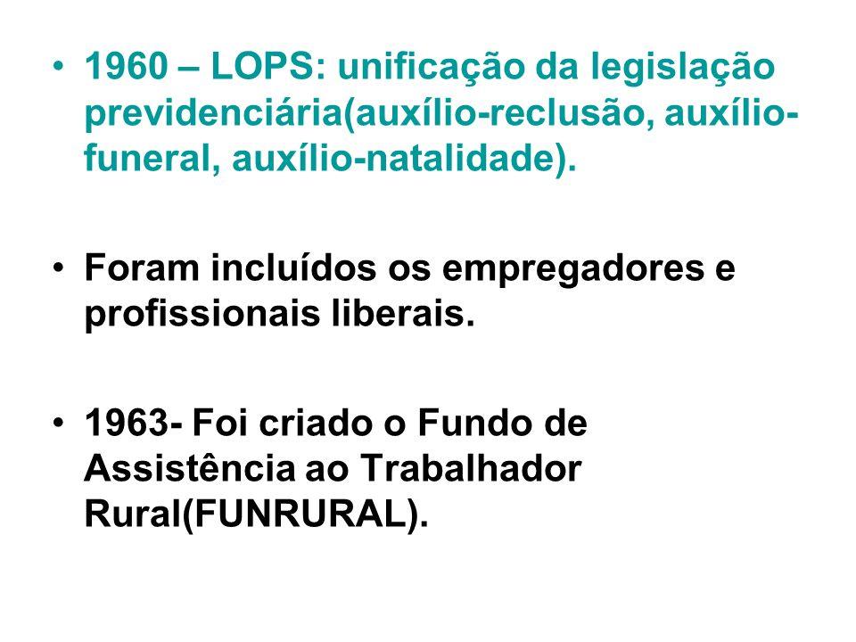 1960 – LOPS: unificação da legislação previdenciária(auxílio-reclusão, auxílio-funeral, auxílio-natalidade).