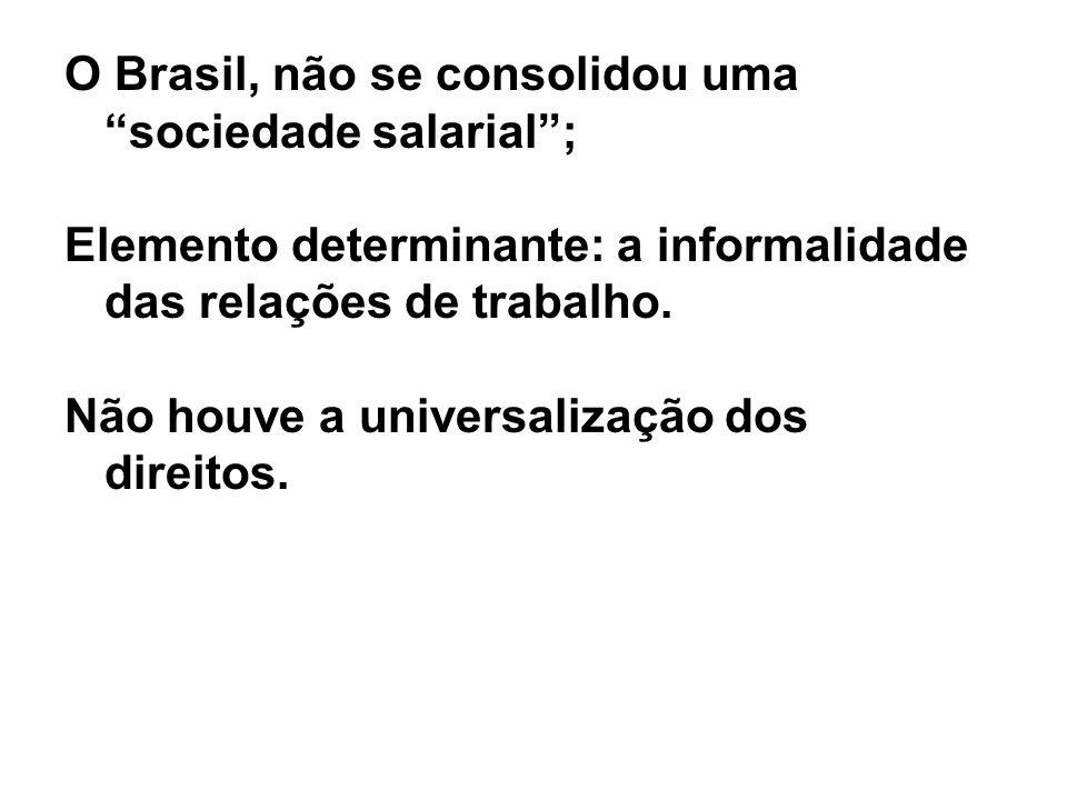 O Brasil, não se consolidou uma sociedade salarial ;