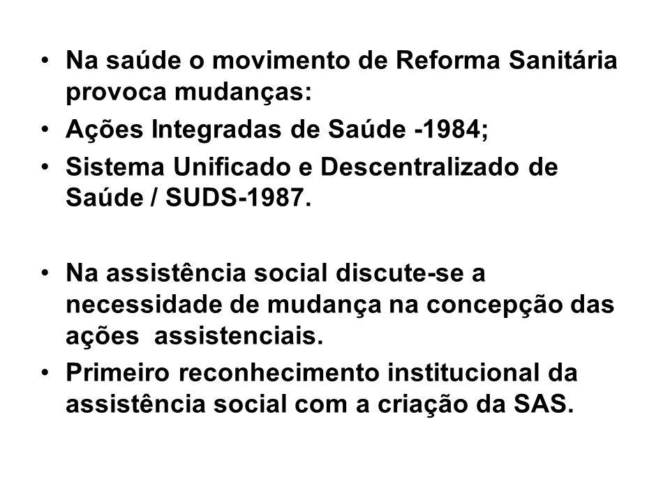 Na saúde o movimento de Reforma Sanitária provoca mudanças: