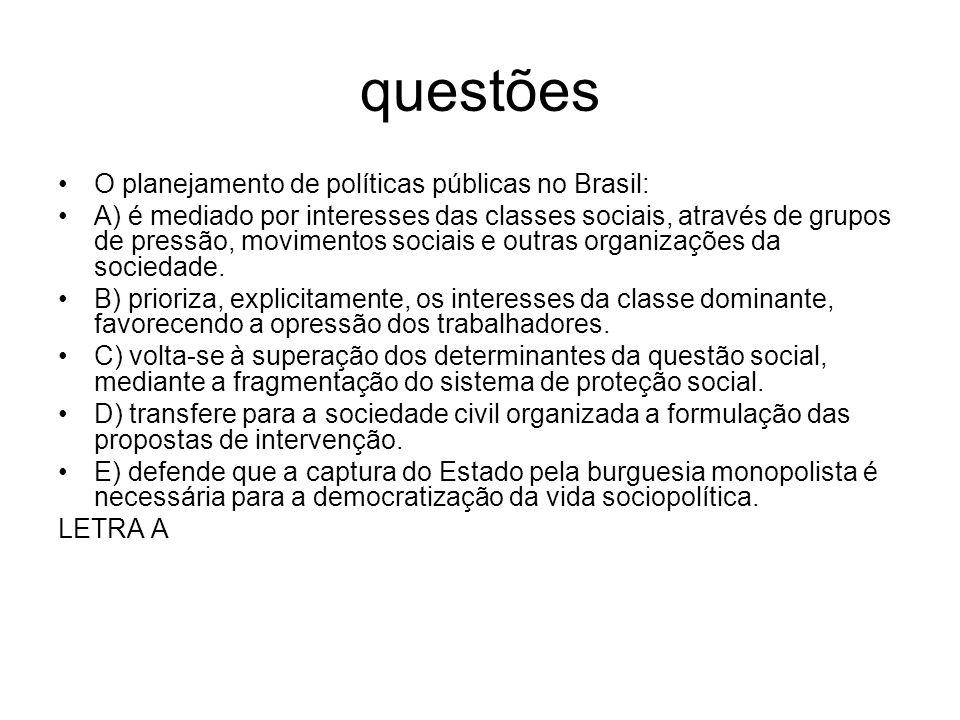 questões O planejamento de políticas públicas no Brasil: