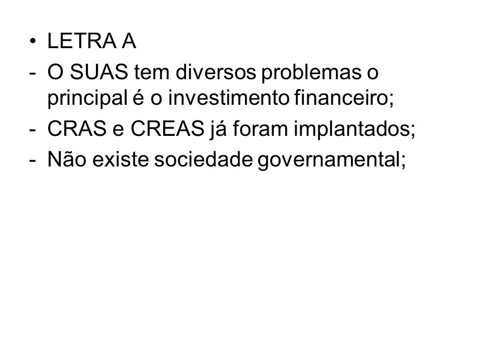 LETRA A O SUAS tem diversos problemas o principal é o investimento financeiro; CRAS e CREAS já foram implantados;