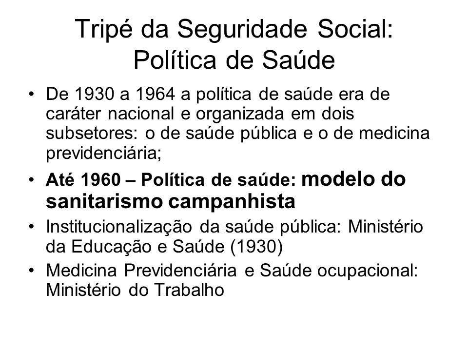Tripé da Seguridade Social: Política de Saúde