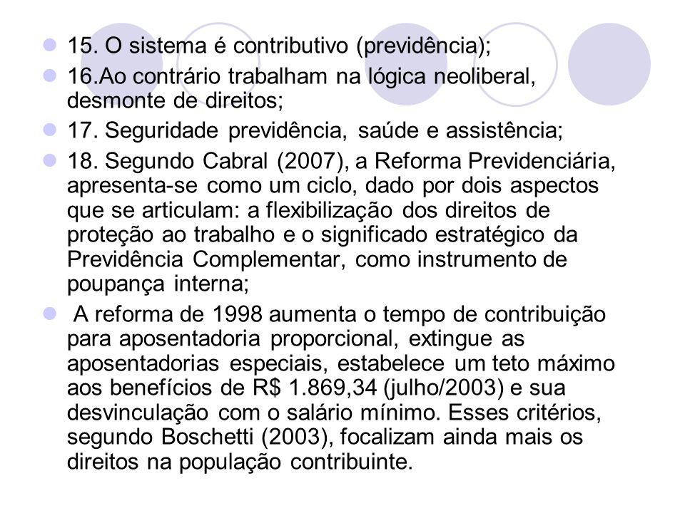15. O sistema é contributivo (previdência);
