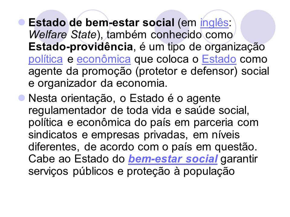 Estado de bem-estar social (em inglês: Welfare State), também conhecido como Estado-providência, é um tipo de organização política e econômica que coloca o Estado como agente da promoção (protetor e defensor) social e organizador da economia.