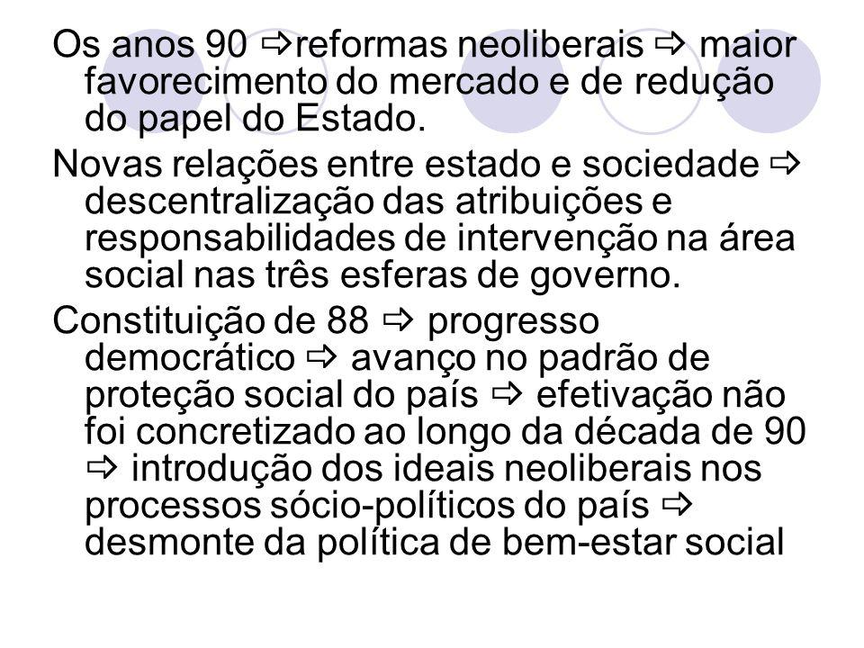Os anos 90 reformas neoliberais  maior favorecimento do mercado e de redução do papel do Estado.