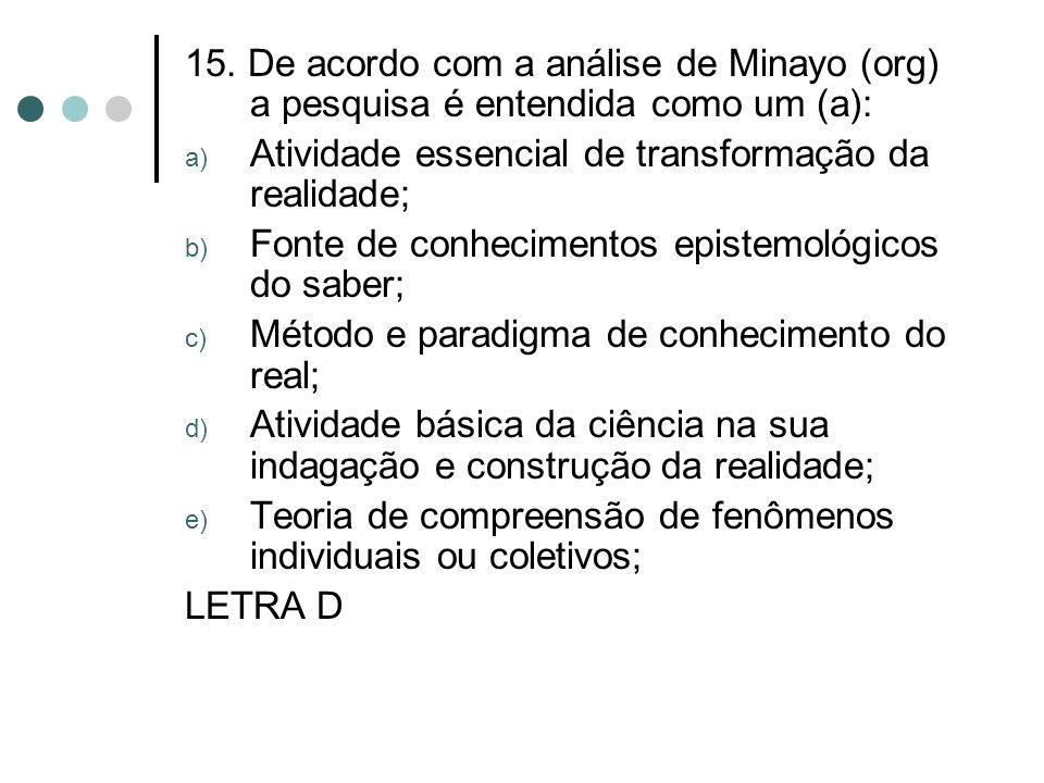 15. De acordo com a análise de Minayo (org) a pesquisa é entendida como um (a):