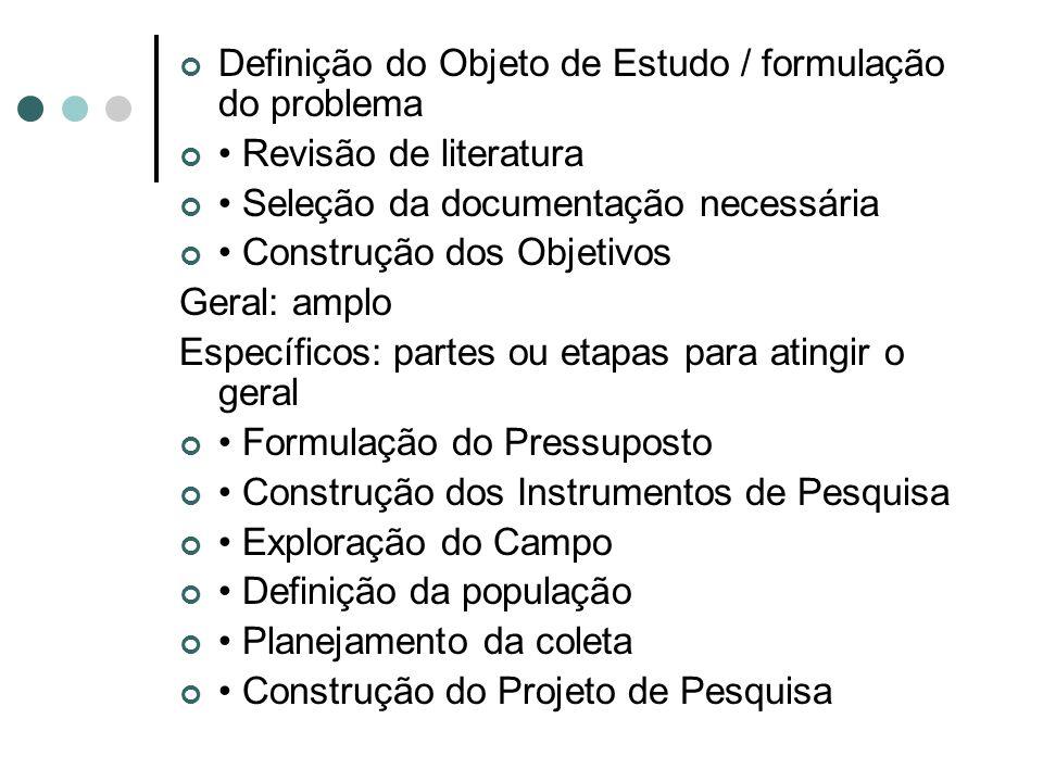Definição do Objeto de Estudo / formulação do problema