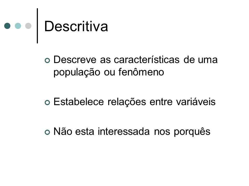 Descritiva Descreve as características de uma população ou fenômeno