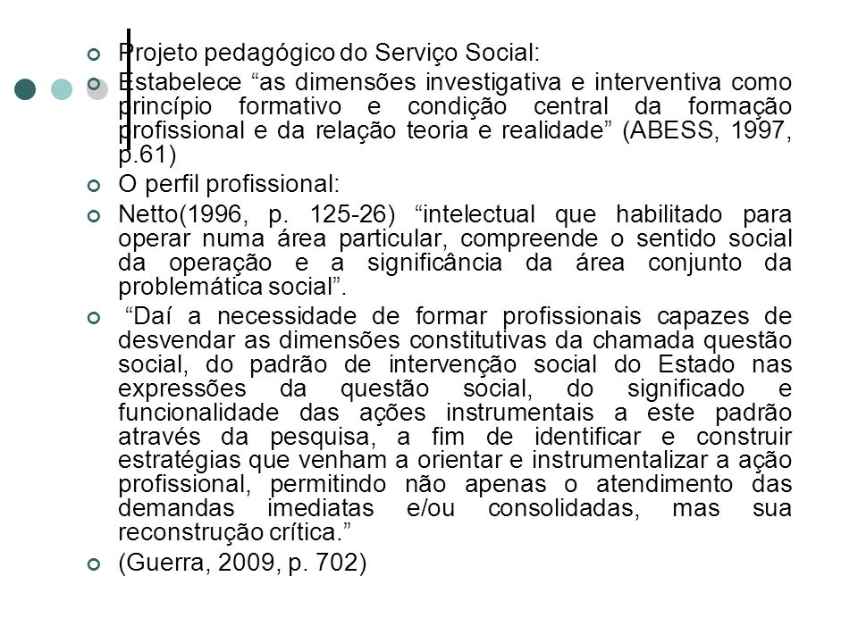 Projeto pedagógico do Serviço Social:
