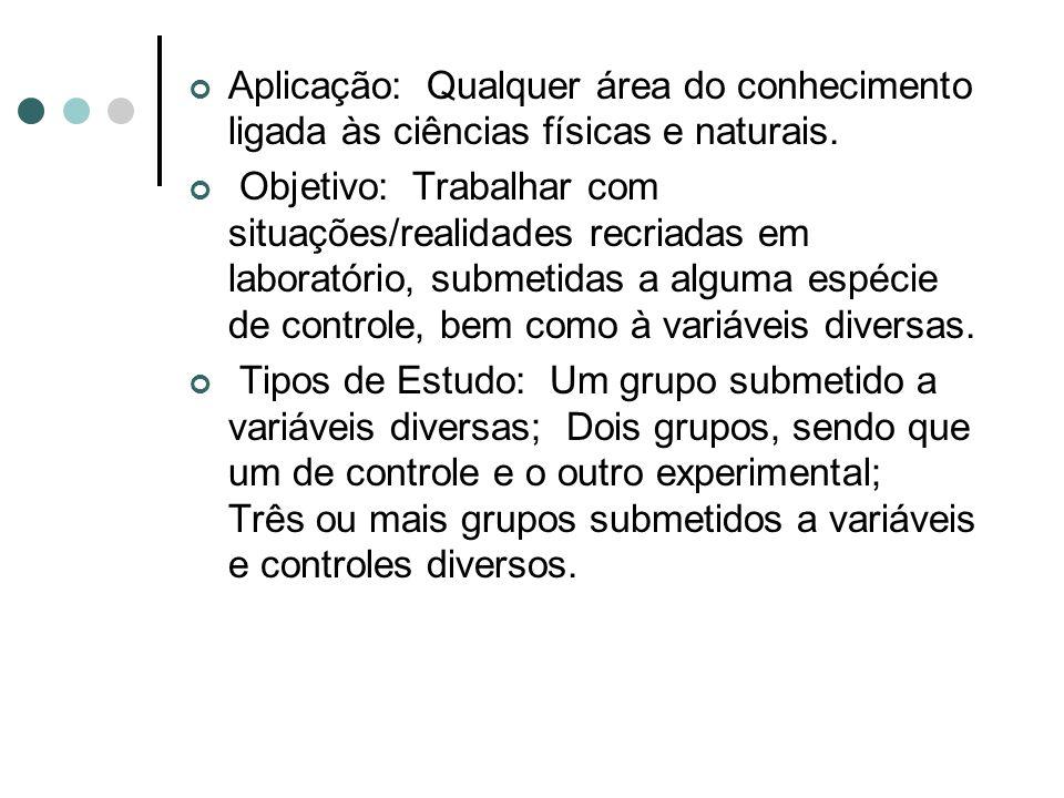 Aplicação: Qualquer área do conhecimento ligada às ciências físicas e naturais.