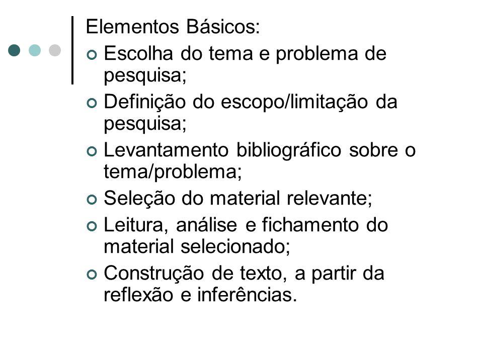 Elementos Básicos: Escolha do tema e problema de pesquisa; Definição do escopo/limitação da pesquisa;