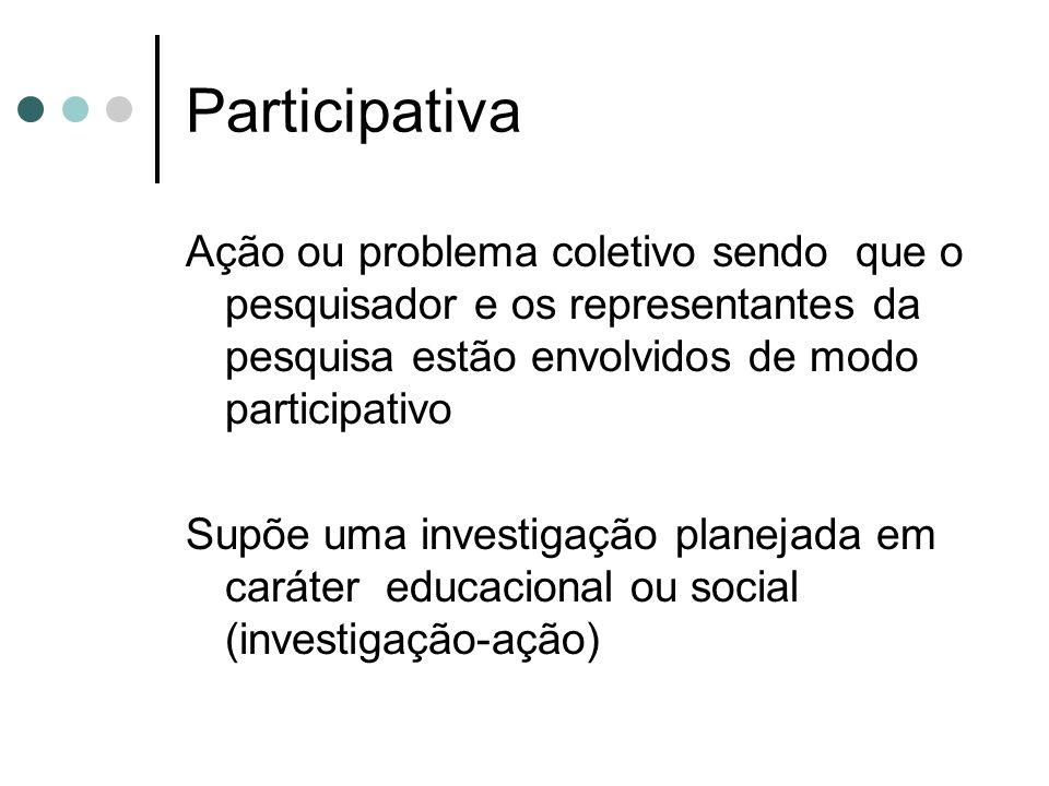 Participativa Ação ou problema coletivo sendo que o pesquisador e os representantes da pesquisa estão envolvidos de modo participativo.