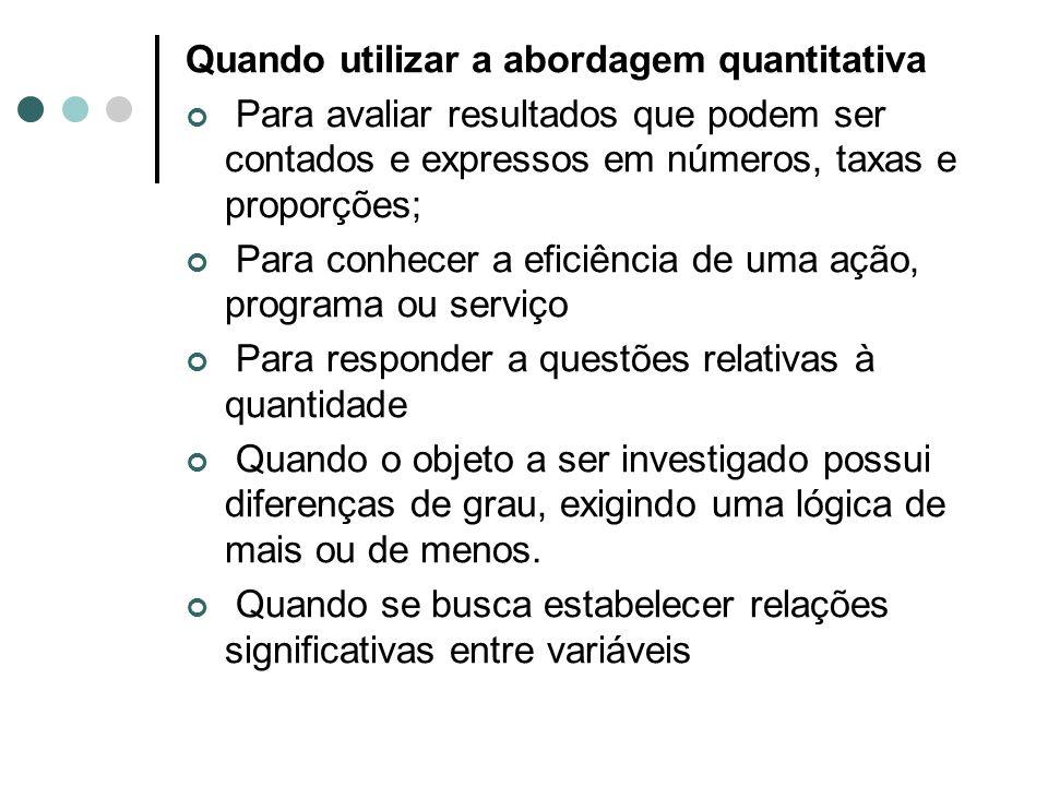 Quando utilizar a abordagem quantitativa