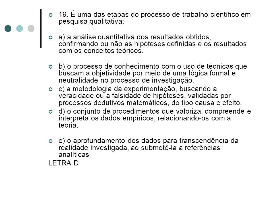 19. É uma das etapas do processo de trabalho científico em pesquisa qualitativa: