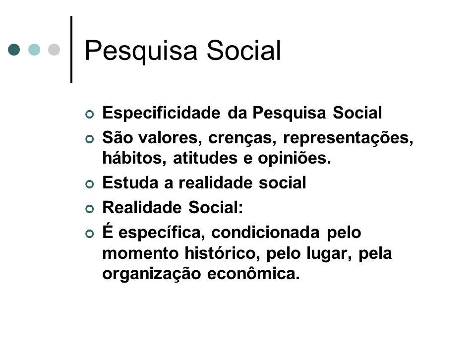 Pesquisa Social Especificidade da Pesquisa Social